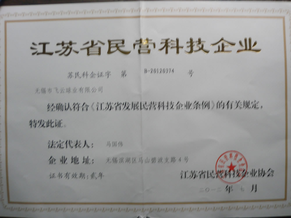 Certificate of private technology enterprises