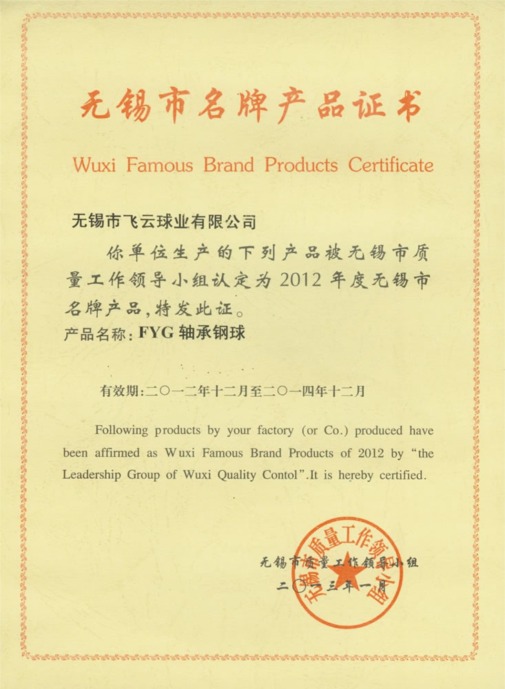 Wuxi City brand-name products certificate