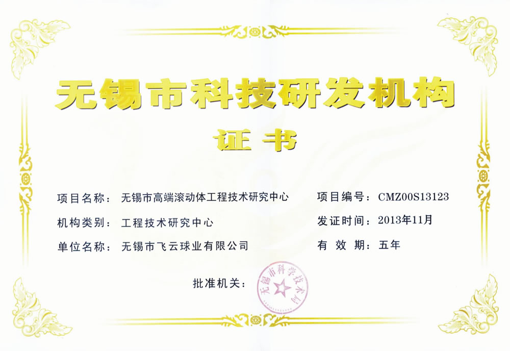 Wuxi City Science and Technology R & D institutions certificate