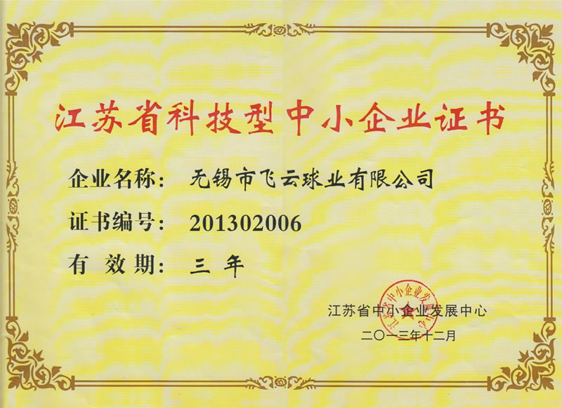 Jiangsu Province Science and Technology SME Certificate